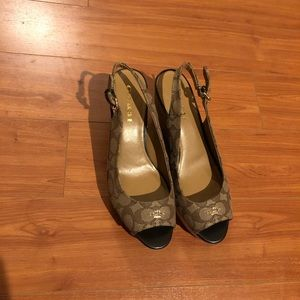 Auth Coach slingback wedges size 9.5 B